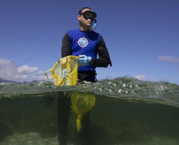 François Seneca getting ready before diving
