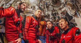 Thibault Rauby, Antonin Guilbert, Yanick Gentil and Laurent Ballesta chilled after a dive. Laurent Ballesta - Andromeda Oceanology